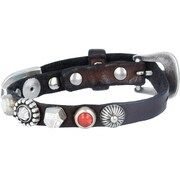 Campomaggi, Dames Armband, donkerbruin / rood / zilver