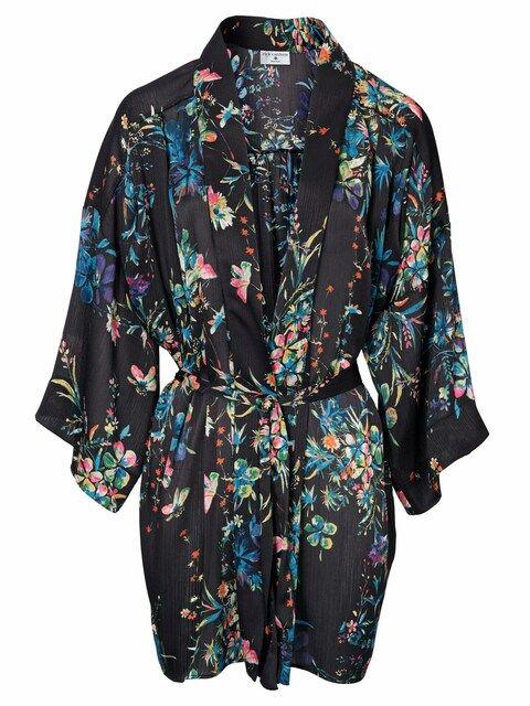 Heine, Dames Kimono, blauw / gemengde kleuren