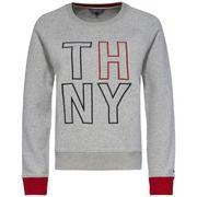 TOMMY HILFIGER, Dames Sweatshirt, donkerblauw / grijs gemleerd / rood