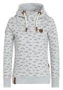 Naketano, Dames Sweatshirt 'Ich Denke Also Spinn Ich II', lichtgrijs / zwart