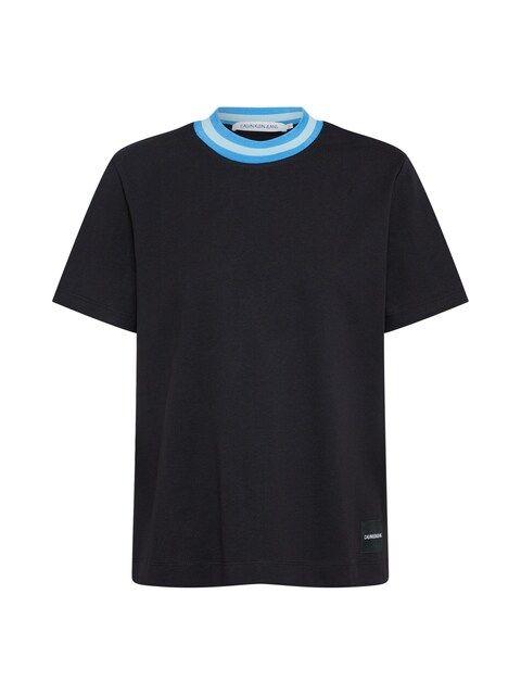 Calvin Klein Jeans, Dames Shirt 'CONTRAST NECK BOXY ', blauw / zwart