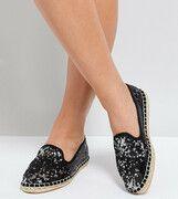ASOS - JANIE - Espadrilles met lovertjes en brede pasvorm - Zwarte / zilveren lovertjes