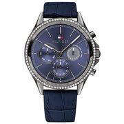 Tommy Hilfiger Grijze horloge met zirkonias en wijzerplaat blauw