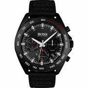 Zwartgecoat horloge met zwarte wijzerplaat en oplichtende details
