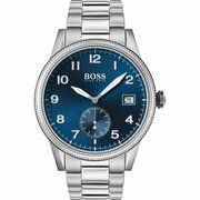 Horloge met blauwe wijzerplaat, gestructureerde lunette en geschakelde polsband