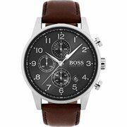 Hugo Boss - HB1513494 - Navigator - Horloge - Leer - 44 mm Bruin