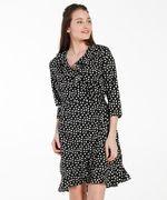 Dames Overslag jurk met print zwart in maat XL