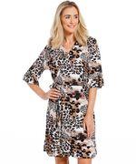 Dames Overslag jurk met animalprint bruin in maat XL
