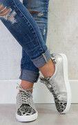 Leopard Sneakers Zilver