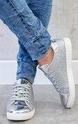 Glitter Sneakers Metallic Grijs