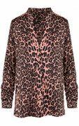 Leopard V Blouse Roze