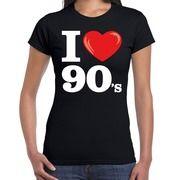 Nineties shirt met I love 90s bedrukking zwart voor dames