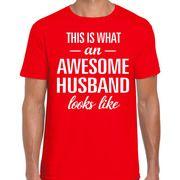 Awesome Husband / echtgenoot cadeau t-shirt rood voor heren