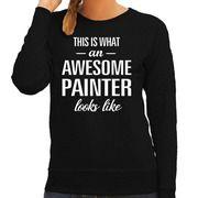 Awesome painter / schilder cadeau trui zwart voor dames