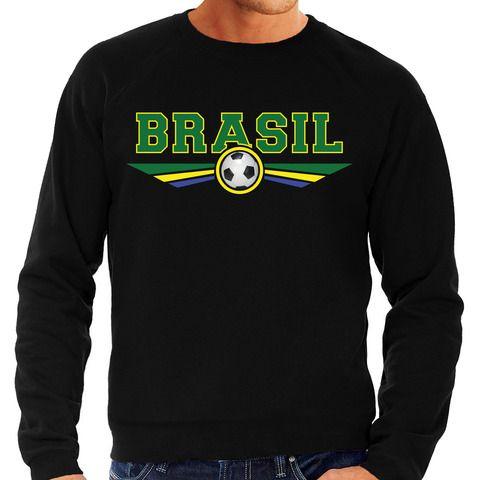 Brazilie / Brasil landen / voetbal trui met wapen in de kleuren van de Braziliaanse vlag zwart voor heren
