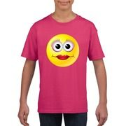 Emoticon diva t-shirt fuchsia/roze kinderen