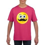 Emoticon snor t-shirt fuchsia/roze kinderen