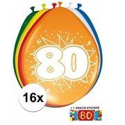 Feest ballonnen met 80 jaar print 16x + sticker