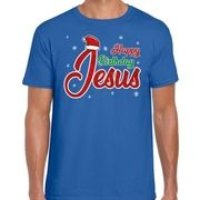 Fout kerstborrel shirt / kerstshirt Happy birthday Jesus blauw heren