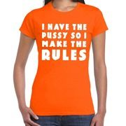 Fout I make the rules t-shirt oranje voor dames