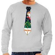 Foute kerst sweater met kerstmis stropdas grijs voor heren