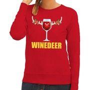 Foute kerstborrel trui rood Winedeer dames