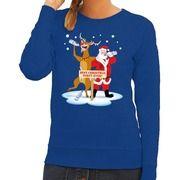 Foute kersttrui blauw met een dronken kerstman en Rudolf voor dames