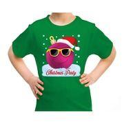 Groen t-shirt / kerstkleding coole roze kerstbal christmas party voor kinderen