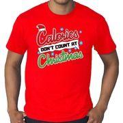 Grote maten kerstborrel shirt / Fout Kerst t-shirt calories dont count at christmas rood voor heren