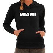 Hooded sweater zwart met Miami bedrukking voor dames