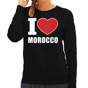 I love Morocco supporter sweater / trui zwart voor dames