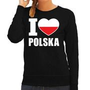 I love Polska supporter sweater / trui zwart voor dames