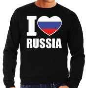 I love Russia supporter sweater / trui zwart voor heren