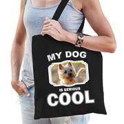 Katoenen tasje my dog is serious cool zwart - Cairn terrier honden cadeau tas