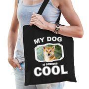 Katoenen tasje my dog is serious cool zwart - Shiba inu honden cadeau tas