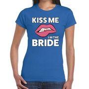 Kiss me I am The Bride blauw fun-t shirt voor dames