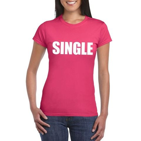 Single fun t-shirt roze voor dames