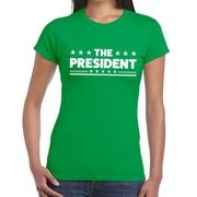 The President fun t-shirt groen voor dames