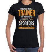 Trotse trainer van sporters kado shirt zwart voor dames