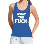 What the Fuck fun tanktop / mouwloos shirt blauw voor dames