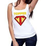 Witte tanktop / mouwloos shirt Super Topper dames