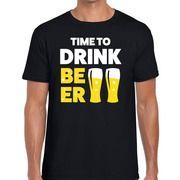 Zwart Time to drink Beer fun t-shirt voor heren
