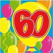 20x Zestig/60 jaar feest servetten Balloons 25 x 25 cm verjaardag/jubileum
