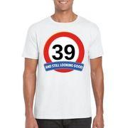 39 jaar verkeersbord t-shirt wit heren