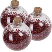 3x Kerstballen transparant/rood 8 cm met rode glitters kunststof kerstboom versiering/decoratie