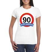 90 jaar verkeersbord t-shirt wit dames