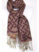 Pashmina sjaal met grafisch dessin en franje