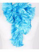 Turquoise stroken sjaal met rafelrandje