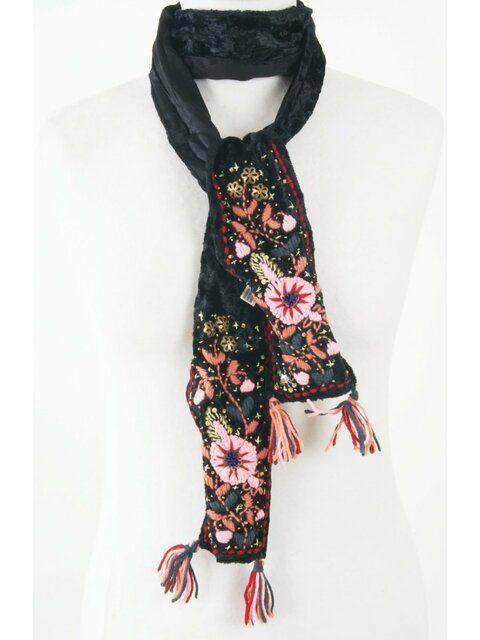 Zwart Vintage sjaaltje met hand-borduursel