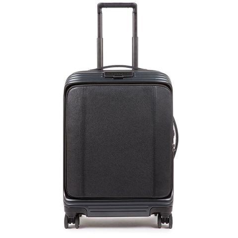 Piquadro PQ-BIZ USB Cabin Expandable Spinner 55 Leather Front Pocket Black
